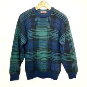 Vintage Men's Oversized Tartan Plaid Sweater